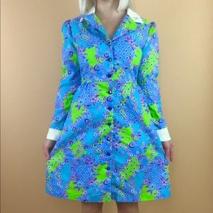 Vintage 1960s psychedelic mini party dress S/M
